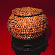 Small Pomo Indian Basket w/ Lid-Sacramento Californian-Circa 1910