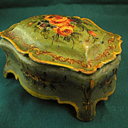 Hand-Painted French Tolewear Wooden Witter�s Desk Casket-Circa 1800s