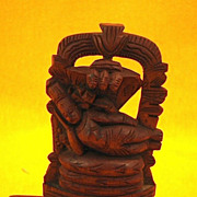 Miniature Sandalwood Statue of Shiva & 3 Cobras-Circa 1955