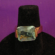 Gold Plated Sterling Silver Ring Imitation Aqua Stone-Circa 1986