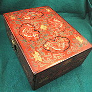 Antique Chinese Lacquered Box w/ Bats-1880