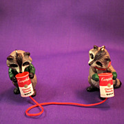 Raccoons Talking by Campbell Soup Cans- Miniature-Circa-1950s