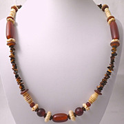 African Tribal Necklace, Agate, Bone, Amber, Brass-Circa 1930�s