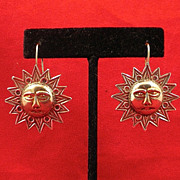 Mexican Serling Silver Sun-Moon Earrings-Circa 1950