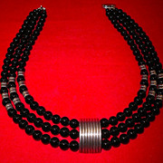 Vintage Tasco Onyx & Silver Necklace-Mexican-1950