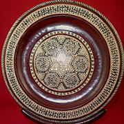 Moroccan Inlaid Mother-of-Pearl Wooden Decorative Plate-Circa 1930-1950