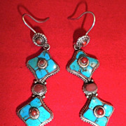Tibetan Turquoise & Red Coral Earrings-Circa 1930