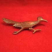 Vintage Copper Roadrunner Broach/Pin-Circa 1940