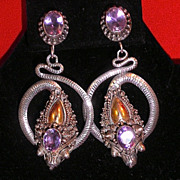 Sterling Silver Tibetan Dragon Earrings w/ Faceted Amethyst-Circa 1962