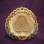 Rare Triangular Belleek Woven Basket- Circa 1955�1979
