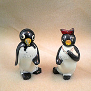 Vintage Penguins Salt & Pepper Shakers, Plastic-Circa 1950