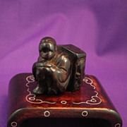 Antique Japanese Netsuke, Man w/ Votive-emma-Wooden-Circa 1800s