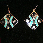 Inlayed Sterling Silver Abalone & Enamel Earrings-Circa 1950