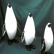 Matched Trio-Set of 3 Milano Glass Penguin-circa-1955