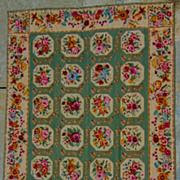 Old Fashioned Handmade Enlish Needlepoint Rug or Beadspread-Circa-1935