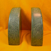 Vintage Art Deco Green Marble Bookends-Circa-1930's