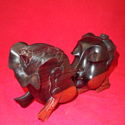 African Ironwood Sculpture of The Kiss-Circa 1989