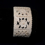 Indian Bone Bracelet-Hand-Carved & pierced, Floral Motif-8 Panels-Circa 1966