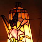 Colored Light-Glass Decorative Teapot Lamp-Circa 1992