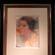 French Pastel Drawing of Woman�s Portrait by C. Pauley- Circa-1920-1935