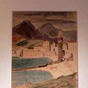 French Watercolor of Collioure Estuary by Barry S. Edmonds-1925