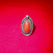 Authentic Navajo Tribal Coral Ring-1920