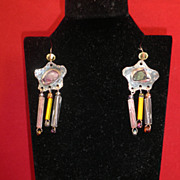 French Hand-made Artisans Silver, Crystal, & Italian Bead Earrings-Circa 1030s