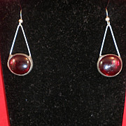 Art Deco Red Eye Earrings-Pewter, Silver & Red Cabochons-Circa 1930