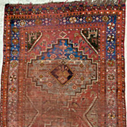 Antique Persian Wollen Rug-Hand-Woven Shriaz Tribal-1840