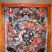 Vintage Monk Painted Tibetan Thangka of Wrathful Deity-1972