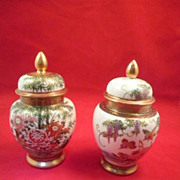 Japanese Satsuma Shimazu-Pair of Ginger Temple Jars Singed-Circa 1974