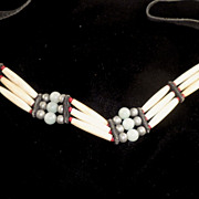 Plains Tribal Indian Bone & Leather Chocker Necklace-Circa 1970
