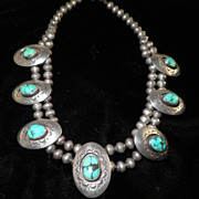 Navajo Sterling Silver 7-Shields Green Matrix Turquoise Choker Necklace-Circa 1930-1940