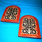 Vintage Italian Inlaid Hardwood Bookends-Circa 1968