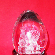 Vintage Russian Cut-Crystal Display Egg-Circa-1990
