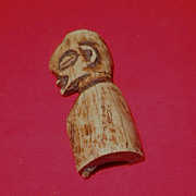 African Talisman Ox Bone Miniature Bust -Circa 1930-1950