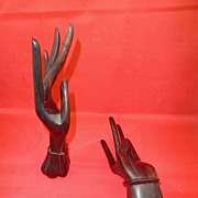 Carved Rosewood Balinese Dancing Hand Sculptures-Circa 1974