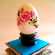 Chinese Hand Painted Goose Egg w/ Glass Display Case-Circa 1977