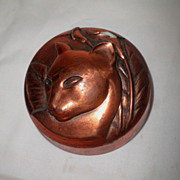 Classical Art Deco Copper on Bakelite Paperweight-1930's