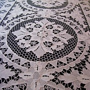 19th Century Victorian Lace, Authentic Bobbin Linen Tablecloth