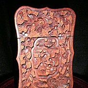 SALE Vintage Chinese hand-carved Boxwood Card-case-Circa 1923