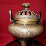 Vintage Japanese Bronze Incense Burner, circa 1920, Engraved with Inlay