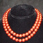 SALE Bright Copper Color Plastic Pearls-Costume Jewelry, Early Plastic circa 1940�s, Sterling