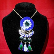 Vintage Artesian Jewelry, French Cloisonn�, Pendant-Necklace, circa 1969