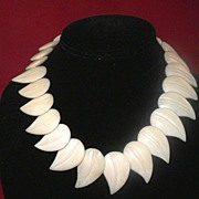 Unique Hand-Carved Bone Necklace-Choker, Overlapping Leaves, Asian Circa 1920-1930