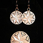SALE Mother of Pearl Earrings & Pin Set, Star & Pierced Lace-Work, Jerusalem circa 1960