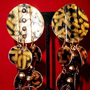 SALE Artisan Disco Era Paper Earrings, circa 1982