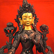 SALE Tara Bronze Statue, Tibetan Jeweled Tara of Seven Eyes, circa 1900-1920