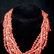 Red Coral Necklace, 14K Gold Clasp, Nine Twisted Strands, Artisan Made 1980