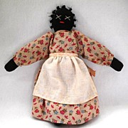 SALE Antique Black Americana Cloth Doll in Pink Calico, Handmade circa 1910